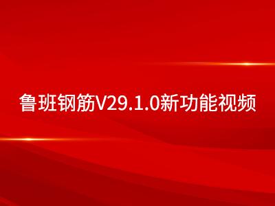 鲁班钢筋V29.1.0新功能视频